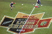 LIONS CENTRE JONNY WILKINSON PRACTICES HIS LINE KICKING ABOVE THE MARKINGS ON THE CENTRE OF THE PITCH, AHEAD OF TOMORROW'S FIRST TEST AGAINST THE ALL BLACKS.BRITISH & IRISH LIONS TOUR TO NEW ZEALAND, LIONS TRAINING SESSION, PRE-1st TEST, JADE STADIUM, CHRISTCHURCH, NEW ZEALAND, FRIDAY 24TH JUNE 2005.