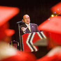 121712       Brian Leddy<br /> Navajo Nation Vice President Rex Lee Jim speaks during commencement ceremonies for Navajo Technical College Monday morning at Red Rock Park. Jim spoke of the need for innovation and job creation on the Navajo Nation.