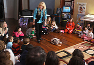 "Middletown, NY - Jan Berlin, director of Everything Animals Resource Center, shows an opossum to children and adults at the Interactive Museum during her program ""Live Animals from Around the World"" on Feb. 7, 2010."