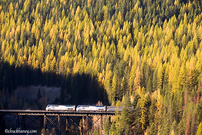 Amtrak passenger train crosses trestle near the Goat Lick in Glacier National Park in Montana