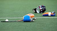 DEN BOSCH -   Uitrusting van Keeper Daan Wesselink voor de wedstrijd tussen de mannen van Jong Oranje  en Jong Engeland, tijdens het Europees Kampioenschap Hockey -21. ANP KOEN SUYK