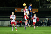 AFC Wimbledon striker Kweshi Appiah (9) battles for possession with during the EFL Trophy group stage match between AFC Wimbledon and Stevenage at the Cherry Red Records Stadium, Kingston, England on 6 November 2018.