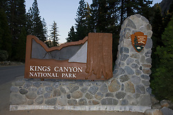 A National Park Service welcome sign to Kings Canyon National Park, California, USA.