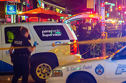 July 22, 2018 - Toronto, Ontario, Canada - As many as 15 people have been shot, two have died, after a gunman opened fire on Danforth avenue West of Logan Avenue Sunday evening shortly after 10 PM on July 22, 2018. (Credit Image: © Victor Biro via ZUMA Wire)