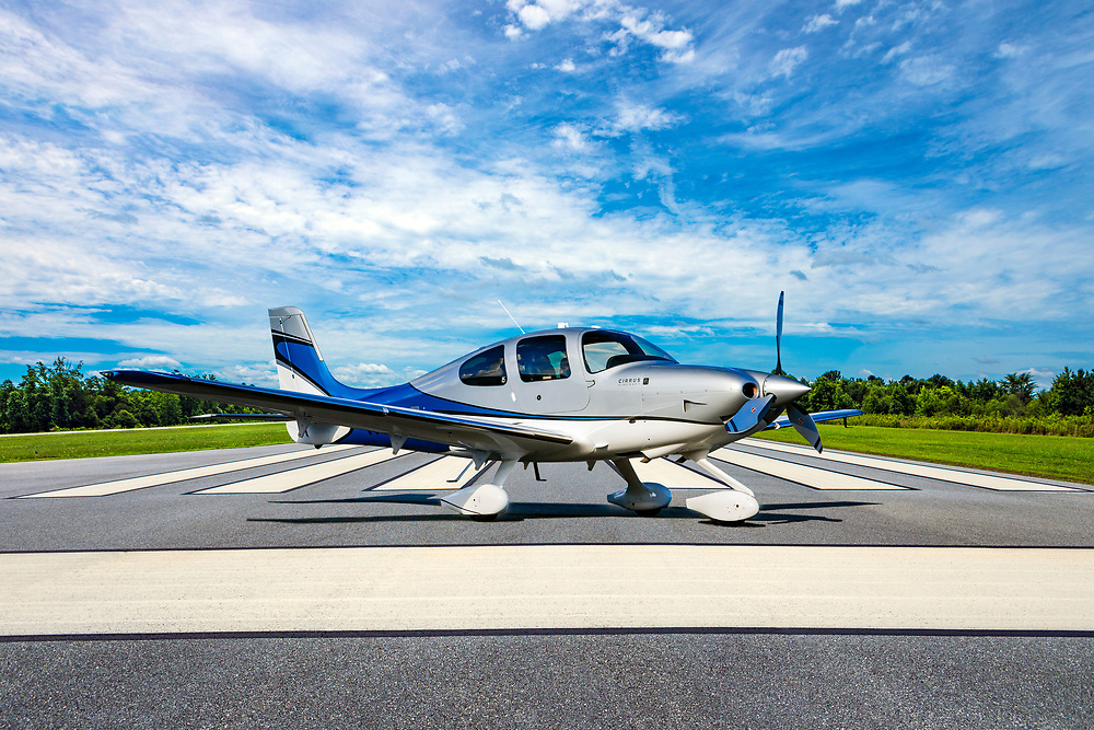 A Cirrus SR22T, at the end of the runway in Jackson County, Georgia.