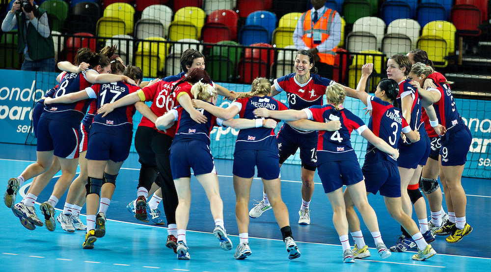 London Handball Cup - Great Bitain vs Angola -  GB celebrates the win