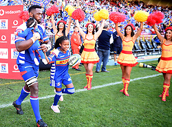 Cape Town-180506 Stomers captain Siya Kolisi enters the field for his 100th game for his team in the Super 15 Cup at Newlands Stadium .photograph:Phando Jikelo/African News Agency/ANA