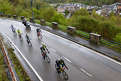Leading group with Julien Bernard (FRA) of Trek - Segafredo (USA,WT,Trek) at La Roche-en-Ardennes during the 2019 Liège-Bastogne-Liège (1.UWT) with 256 km racing from Liège to Liège, Belgium. 28th April 2019. Picture: Pim Nijland | Peloton Photos<br /> <br /> All photos usage must carry mandatory copyright credit (Peloton Photos | Pim Nijland)