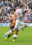 Bradford City Nathaniel Knight-Percival battles with Millwall midfielder Jed Wallace during the Sky Bet League 1 play-off final at Wembley Stadium, London<br /> Picture by Glenn Sparkes/Focus Images Ltd 07939664067<br /> 20/05/2017