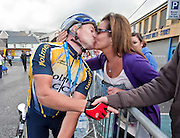 Winner Philip Colleran ,Ennis gets a kiss from wife Antoinette at the Etap Hibernia Sky Ride in Ennis on Sunday. Photograph by Eamon Ward