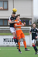 |DFC\'s Kerr Waddell wins an aerial duel - Dundee v Dundee United in the SPFL Development League at Links Park, Montrose. Photo: David Young<br /> <br />  - &copy; David Young - www.davidyoungphoto.co.uk - email: davidyoungphoto@gmail.com