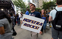 Sept.26, 2016 - Hempstead, New York, U.S. -  People mill about near the MSNBC stage at Hofstra University, site of the first of three scheduled debates between presidential candidates Hillary Clinton and Donald Trump. (Credit Image: © Brian Cahn via ZUMA Wire)