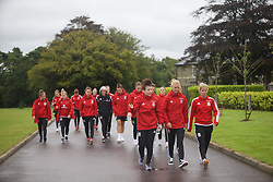 CARDIFF, WALES - Friday, August 19, 2016: Wales' Angharad James, Sophie Ingle and Kylie Davies during a pre-match walk at the Vale Resort ahead of the international friendly match against Republic of Ireland. (Pic by Laura Malkin/Propaganda)