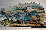 Modern Industrial Mural showing workers lives in Panaji, Goa - often called Panjim.