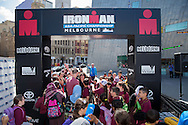 School Students And Teachers, March 19, 2014 - Ironman Triathlon : Students And Teachers enjoy the triathlon festivities. Tougher Than An IRONMAN, Federation Square, Melbourne, Victoria, Australia. Credit: Lucas Wroe