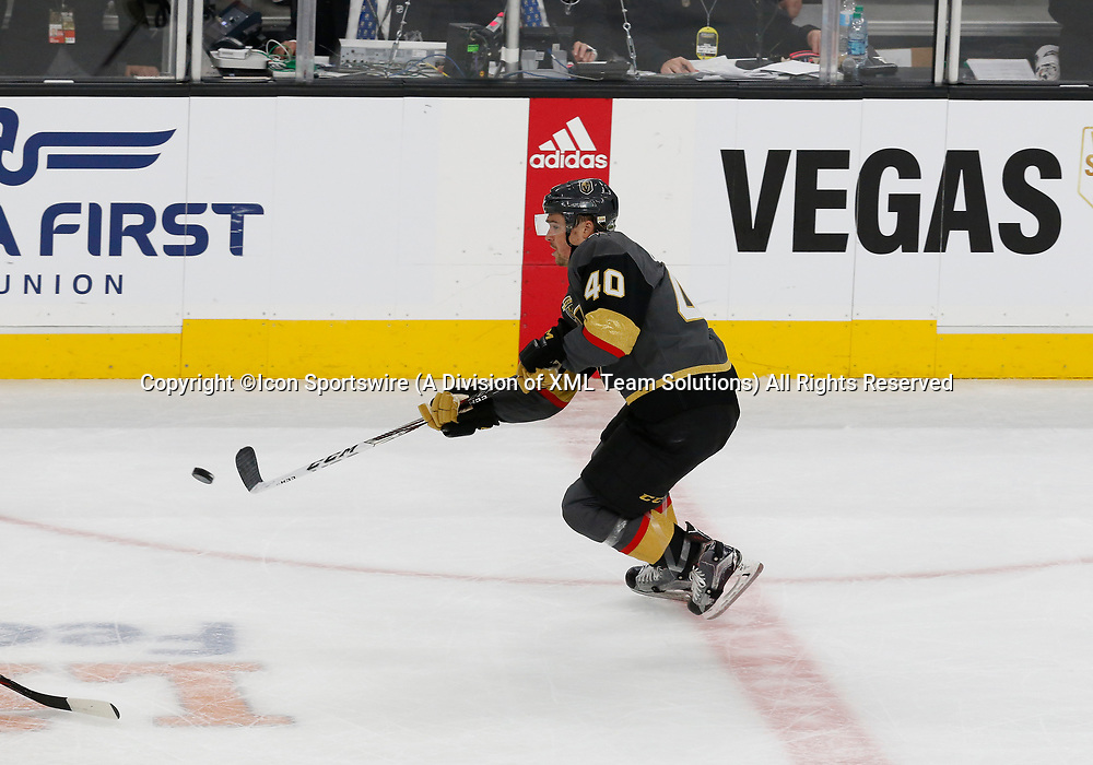 LAS VEGAS, NV - APRIL 11: Vegas Golden Knights center Ryan Carpenter (40) moves the puck up the ice during Game One of the Western Conference First Round of the 2018 NHL Stanley Cup Playoffs between the L.A. Kings and the Vegas Golden Knights Wednesday, April 11, 2018, at T-Mobile Arena in Las Vegas, Nevada. The Golden Knights won 1-0.  (Photo by: Marc Sanchez/Icon Sportswire)