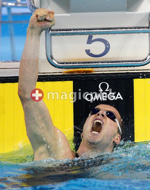 Winner Markus ROGAN of Austria celebrates a new European Record in the men's 200m Individual Medley (IM) Final at the 13th European Short Course Swimming Championships in Istanbul, Turkey, Thursday, Dec. 10, 2009. (Photo by Patrick B. Kraemer / MAGICPBK)