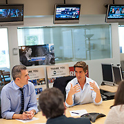 "August 29, 2014 - New York, NY : ABC News Anchor David Muir, center right, takes part in an editorial meeting with producers including executive producer Almin Karamehmedovic, left, at the ""World News Tonight with David Muir"" rim in the ABC News building on West 66th Street on Friday afternoon. David Muir is taking over for Diane Sawyer as anchor of ABC's ""World News Tonight."" CREDIT: Karsten Moran for The New York Times"