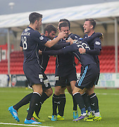 Martin Boyle is mobbed by team mates after scoring Dundee's goal - Hamilton v Dundee, SPFL Championship at New Douglas Park<br /> <br />  - &copy; David Young - www.davidyoungphoto.co.uk - email: davidyoungphoto@gmail.com