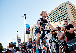 Tayler Wiles (USA) rides onto the stage at Santos Women's Tour Down Under 2019 - Team Presentation in Adelaide, Australia on January 12, 2019. Photo by Sean Robinson/velofocus.com
