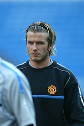 MADRID, SPAIN - Monday, April 7, 2003: Manchester United's David Beckham after training at the Estadio Santiago Bernabeu ahead of his side's Champions League Quarter Final 1st Leg match with Real Madrid. (Pic by David Rawcliffe/Propaganda)