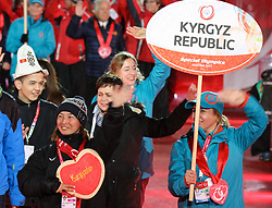 18.03.2017, Planai-Stadion, Schladming, AUT, Special Olympics 2017, Wintergames, Eröffnungsfeier, im Bild der Einmarsch der Delegation aus Kirgisistan // the delegation of Kyrgyzstan during the opening ceremony in the Planai Stadium at the Special Olympics World Winter Games Austria 2017 in Schladming, Austria on 2017/03/17. EXPA Pictures © 2017, PhotoCredit: EXPA / Martin Huberr