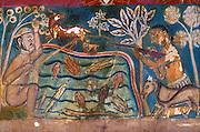 Mural from walls of the Subodraramaya Buddhist temple at Dehiwala.