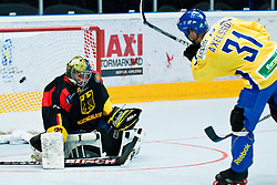 Dick Axelsson of Sweden scores, Thomas Ower without chance at IIHF In-Line Hockey World Championships Quarter final match between national teams of Sweden and Germany on July 1, 2010, in Karlstad, Sweden. (Photo by Matic Klansek Velej / Sportida)