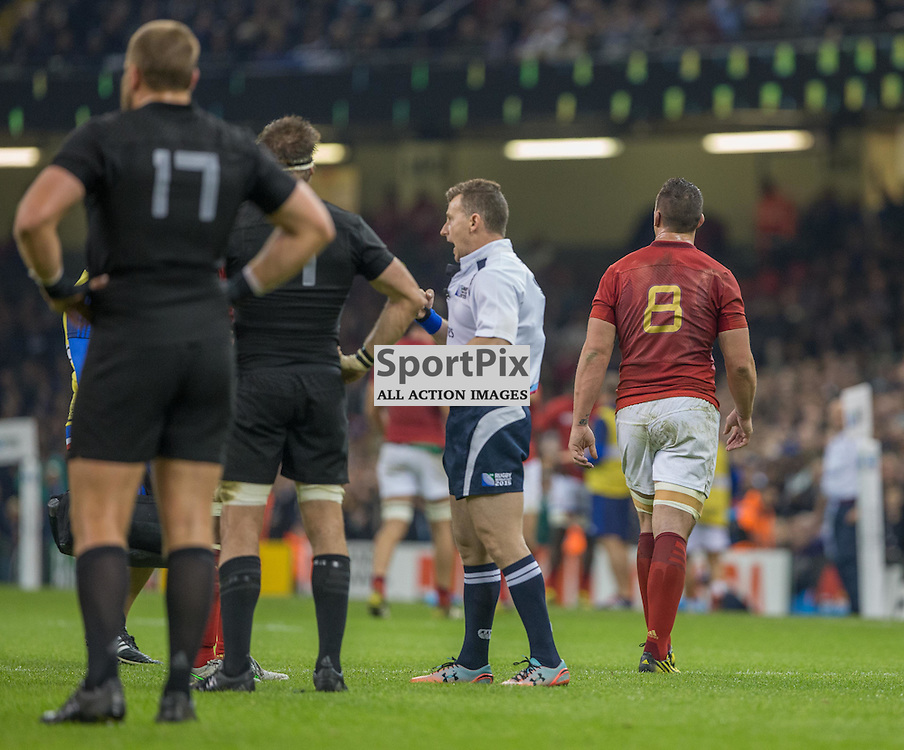 Louis Picamoles leaves the filed after being shown a yellow card by Refereee Nigel Owens during the Rugby World Cup Quarter Final, New Zealand v France, Saturday 17 October 2015, Millenium Stadium, Cardiff (Photo by Mike Poole - Photopoole)