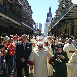 New Orleans Saints President Dennis Lauscha (left) and owner Gayle Benson walk during a second line following the funeral service for NFL New Orleans Saints owner and NBA New Orleans Pelicans owner Tom Benson in New Orleans, Friday, March 23, 2018. Benson died last Thursday at the age of 90. (AP Photo/Derick Hingle)