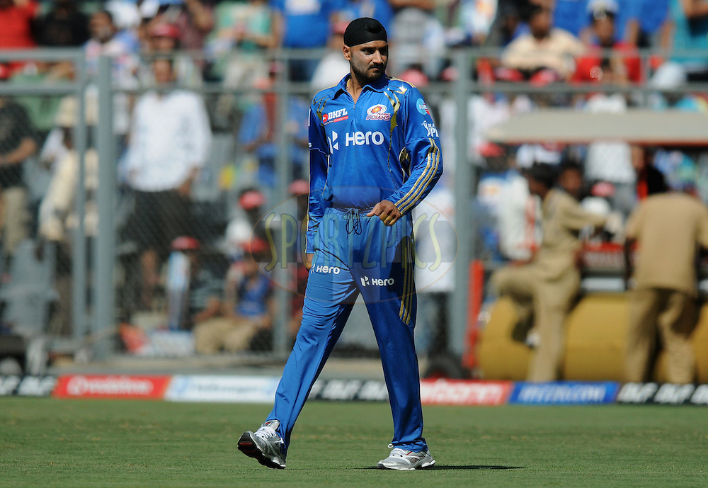 Harbhajan Singh captian of Mumbai Indians before the match during match 28 of the Indian Premier League ( IPL) 2012  between The Mumbai Indians and the Kings X1 Punjab held at the Wankhede Stadium in Mumbai on the 22nd April 2012..Photo by Pal Pillai/IPL/SPORTZPICS.