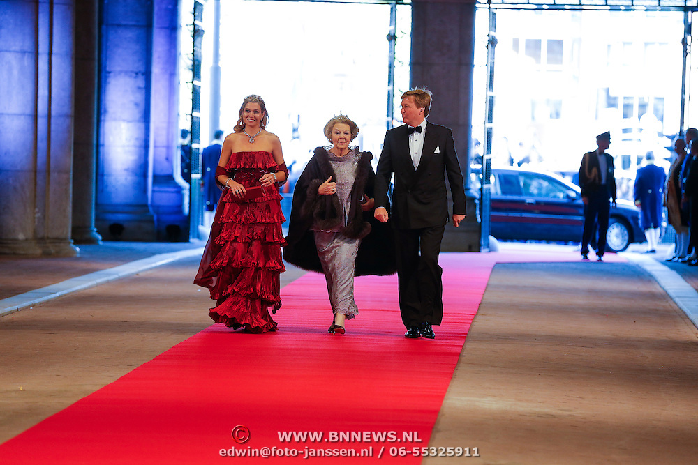 NLD/Amsterdam/20130429- Afscheidsdiner Konining Beatrix Rijksmuseum, Queen Beatrix and Prince Willem-Alexander and Princess Maxima