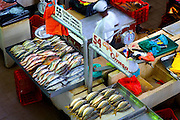Fish vendor in his stall with his arranged fish at the Fish Market (El Mercado del Marisco) in the Casco Viejo neighborhood of Panama City, Panama.
