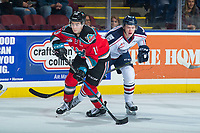 KELOWNA, CANADA - OCTOBER 27: Dillon Dube #19 of the Kelowna Rockets skates with the puck against the Tri-City Americans during second period on October 27, 2017 at Prospera Place in Kelowna, British Columbia, Canada.  (Photo by Marissa Baecker/Shoot the Breeze)  *** Local Caption ***