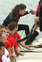 Duke and Duchess of Cambridge  take part in a dragon boat race at Dalvay-By-The Sea on Prince Edward Island, Canada , on day five of the Royal Tour, Monday 4th July 2011. Photo by: Stephen Lock / i-Images