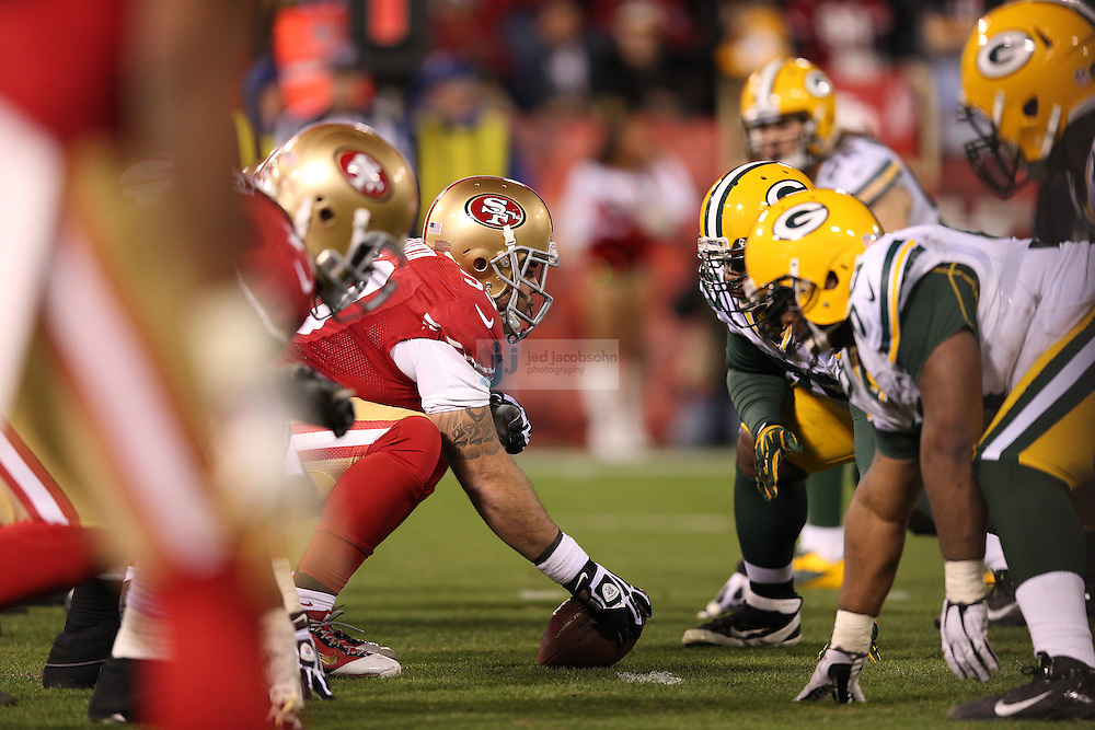 The Green Bay Packers and San Francisco 49ers line up during a NFL Divisional playoff game at Candlestick Park in San Francisco, Calif., on Jan. 12, 2013. The 49ers defeated the Packers 45-31. (AP Photo/Jed Jacobsohn)