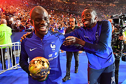 September 9, 2018 - Paris, France - Blaise Matuidi, N'Golo Kante of France celebrate with the World Cup Trophy after the UEFA Nations League A group official match between France and Netherlands at Stade de France on September 9, 2018 in Paris, France. This is the first match of the French football team at the Stade de France since their victory in the final of the World Cup in Russia. (Credit Image: © Mehdi Taamallah/NurPhoto/ZUMA Press)