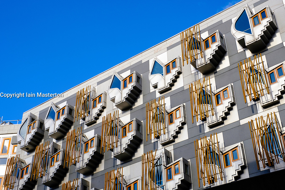 Exterior view of the Scottish Parliament building at Holyrood in Edinburgh, Scotland, United Kingdom.