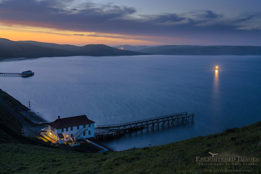 Historic Point Reyes Lifeboat Station in evening light, Drakes Bay, Point Reyes National Seashore, Marin County, California