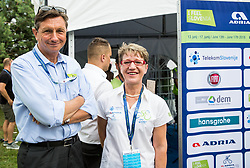 Borut Pahor, Sonja Gole during 5th Time Trial Stage of 25th Tour de Slovenie 2018 cycling race between Trebnje and Novo mesto (25,5 km), on June 17, 2018 in  Slovenia. Photo by Vid Ponikvar / Sportida