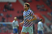 Marcos Alonso (3) of Chelsea warming up before the Premier League match between Southampton and Chelsea at the St Mary's Stadium, Southampton, England on 7 October 2018.
