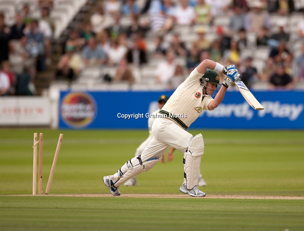 Marcus North is bowled by Mohammad Asif during the MCC Spirit of Cricket Test Match between Pakistan and Australia at Lord's.  Photo: Graham Morris (Tel: +44(0)20 8969 4192 Email: sales@cricketpix.com) 13/07/10