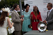 NAT PARKER; NAOMI HARRIS;  BEVERLEY KNIGHT,  IN THE DUKE OF RICHMOND BOX, Glorious Goodwood. Ladies Day. 28 July 2011. <br /> <br />  , -DO NOT ARCHIVE-© Copyright Photograph by Dafydd Jones. 248 Clapham Rd. London SW9 0PZ. Tel 0207 820 0771. www.dafjones.com.