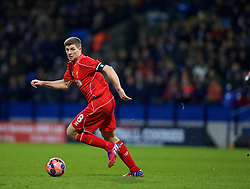 BOLTON, ENGLAND - Wednesday, February 4, 2015: Liverpool's captain Steven Gerrard in action against Bolton Wanderers during the FA Cup 4th Round Replay match at the Reebok Stadium. (Pic by David Rawcliffe/Propaganda)