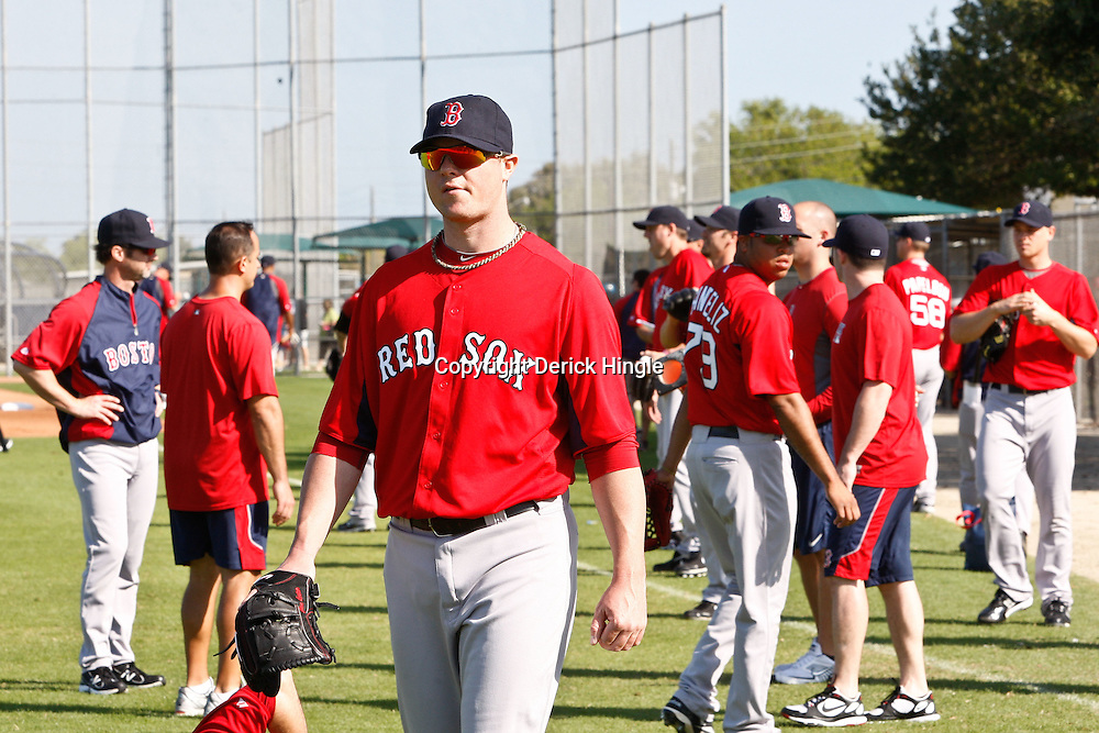 February 18, 2011; Fort Myers, FL, USA; Boston Red Sox starting pitcher Jon Lester (31) during spring training at the Player Development Complex.  Mandatory Credit: Derick E. Hingle