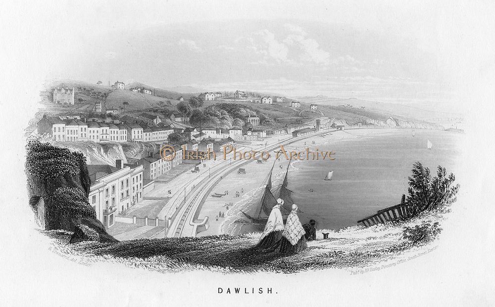 South Devon Railway, later Great Western Railway (GWR) at Dawlish. It shows the track of Isambard Kingdom Brunel's (1806-1859) atmospheric railway with engine house (right middle distance). A daily service of four trains began between Exeter and Teignmouth in September 1847, and was extended to Newton Abbot in January 1848.  By June 1848 the difficulties with the tube made conversion to conventional steam trains inevitable. The engine house provided power to exhaust the tube. Samuel Clegg Jnr (1814-1856) and Joseph  Samuda (1813-1885) system.  Illustration by George Townsend for 'Views of Devon and Cornwall' by Henry Besley.  (Exeter, c1860). Engraving.
