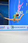Mateva Mariya during qualifying at clubs in Pesaro World Cup at Adriatic Arena on 11 April 2015. Mariya was born on June 1,1994 in Burgas. She is a Bulgarian individual rhythmic gymnast.