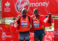 London marathon winner Wilson Kipsang (L), 2nd placed Stanley Biwatt (R)<br /> The Virgin Money London Marathon 2014<br /> 13 April 2014<br /> Photo: Jed Leicester/Virgin Money London Marathon<br /> media@london-marathon.co.uk