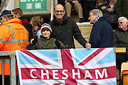 Chesham fans before kick-off the The FA Cup match between Bradford City and Chesham FC at the Coral Windows Stadium, Bradford, England on 6 December 2015. Photo by Mark P Doherty.
