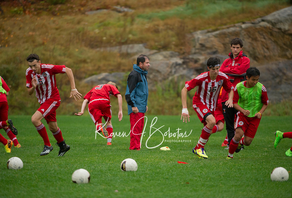 St Paul's School varsity boys soccer with Nobles.  ©2014 Karen Bobotas Photographer